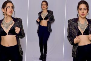 Urfi Javed Goes All Black, Opts for a Velvet Bralette Along With an Embellished Jacket and Oxidised Jewellery (View Pics)