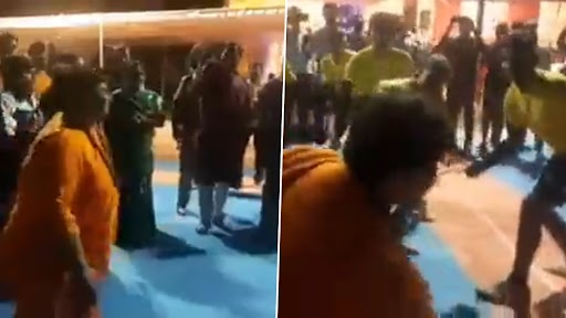 BJP Leader Pragya Thakur, Out on Bail on Health Grounds, Seen Playing Kabaddi After Garba Dance at Kali Temple (Watch Video)
