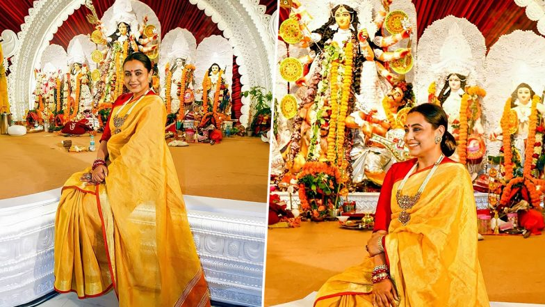 Durga Puja 2021: Rani Mukerji Is a Sight To Behold in Yellow Saree at Navami Festivities (View Pics)